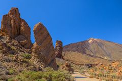 Roque de Garcia and Teide Stock Photography