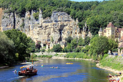 Roque-Gageac, Dordogne. Gabarre on the River Dordogne at Roque-Gageac royalty free stock photography