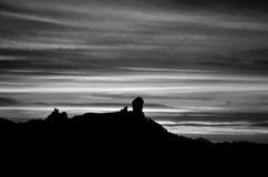 Roque Nublo на наступлении ночи Стоковая Фотография
