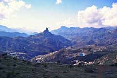 Roque nublo mountain. View of roque nublo mountain in gran canarie royalty free stock photo