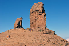 Roque Nublo (Rock Clouded) - Gran Canaria. Roque Nublo is a volcanic monolith feature that is 80 m tall. It is one of the most famous landmarks on the island of Stock Image
