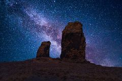 Roque Nublo under a starry night sky. Roque Nublo aka Clouded Rock is a volcanic rock on the island of Gran Canaria, Spain. It is a famous landmark protected Stock Photo