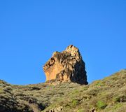 Roque Saucillo on intense blue sky, Gran canaria island Royalty Free Stock Photo