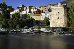 Roquebrun. View of the River Orb at Roquebrun Stock Images