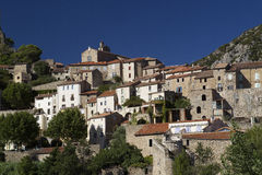 Roquebrun. View of the French village houses at Roquebrun Stock Photos