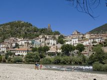 Roquebrun in the Languedoc stock photos