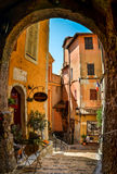 Roquebrune, Medieval village in France. Medieval village street with yellow houses Royalty Free Stock Images