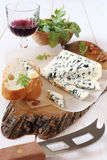 Roquefort blue cheese and wineglass Stock Photo