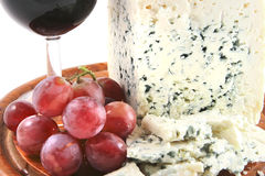 Roquefort cheese with grapes Royalty Free Stock Images
