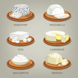Roquefort and mozzarella, feta or camembert. Set of  icons of french and italian, polish and greek, ukrainian and romanian cheese. Roquefort and mozzarella, feta Stock Photos