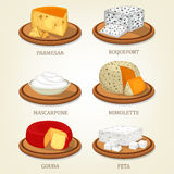 Roquefort and parmesan, mimolette and gouda, feta. Italian parmesan reggiano cheese and french roquefort slice, cream mascarpone and mimolette chunk, netherlands Royalty Free Stock Photography