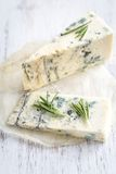 Roquefort on the wooden board Stock Images