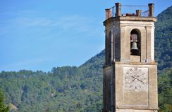 Roquesteron Bell Tower. Church bell tower in Roquesteron, France stock photography