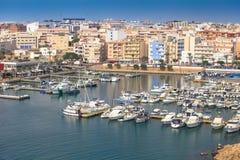 Roquetas de Fördärva nautic port, AlmerÃa, Spanien Royaltyfria Foton