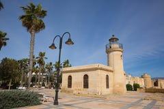 Roquetas Del Mącący latarni morskiej wybrzeże almerÃa, andalucÃa Hiszpania fotografia royalty free