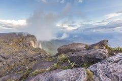 从Roraima tepui的看法在薄雾的Kukenan tepui - Venez 免版税库存图片
