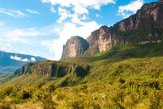 Roraima Tepui, Gran Sabana, Venezuela. Wall of Roraima Table Mountain, Kukenan Table Mountain on the horizon, Great Savanna, Canaima National Park, Venezuela Royalty Free Stock Photo