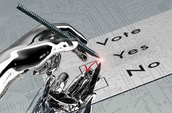 Rorbot hand is voting with  digital pen Royalty Free Stock Photos