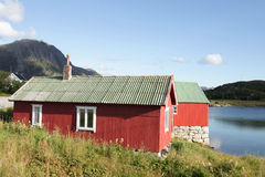 Rorbu cabin on the fjord Royalty Free Stock Photography