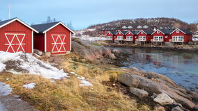 Rorbu cabins in Stokmarknes, Vesteralen, Norway Royalty Free Stock Photography
