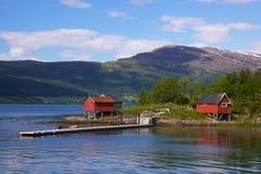 Rorbu houses. Typical norwegian fisherman's houses called Rorbu Royalty Free Stock Photo