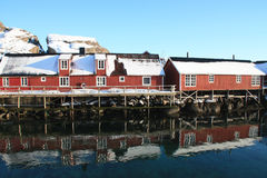 Rorbu in Lofoten. Traditional fisherman's cabins of Lofoten islands stock photo
