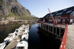 Rorbu, maisons traditionnelles norvégiennes de pêcheur, Lofoten Images libres de droits