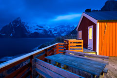Rorbu and mountains, Lofoten, Norway Stock Photography