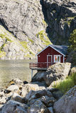 Rorbuer, fisherman house on stilts in Lofoten archipelago. Royalty Free Stock Images