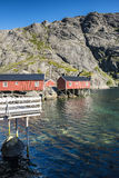 Rorbuer, fisherman house on stilts in Lofoten archipelago. Rorbuer, fisherman house on stilts in Lofoten archipelago, Norway Royalty Free Stock Photos