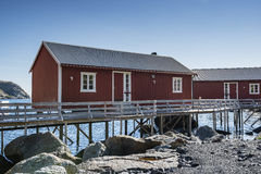 Rorbuer, fisherman house on stilts in Lofoten archipelago. Rorbuer, fisherman house on stilts in Lofoten archipelago, Norway Stock Photos