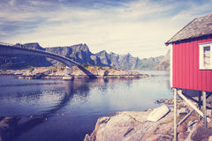 Rorbuer, fisherman house on stilts in Lofoten archipelago. Rorbuer, fisherman house on stilts in Lofoten archipelago, Norway Royalty Free Stock Image