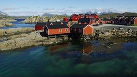 Rorbuer, Mortsund, Lofoten, Norwegia Zdjęcie Royalty Free