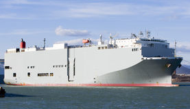 Roro vessel. Big vessel sailing in the port Royalty Free Stock Image