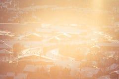 Roros一个美好的早晨风景  世界遗产地方 古镇在中央挪威 免版税库存照片