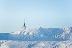 Roros教会一个美丽的塔在中央挪威 世界遗产名录站点 库存图片