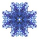 rorschach Μπλε σταυροειδής συμμετρική κηλίδα watercolor Λεπτή αφηρημένη ζωγραφική Στοκ εικόνες με δικαίωμα ελεύθερης χρήσης