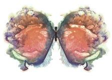 rorschach Πεταλούδα πορτοκαλί watercolor Στοκ Εικόνα