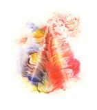 rorschach Acquerello blu, rosso, arancio e giallo Fotografia Stock Libera da Diritti