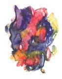 rorschach Acquerello blu, rosso e giallo Immagini Stock
