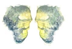 rorschach Acquerello giallo Immagini Stock Libere da Diritti