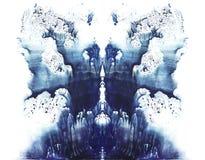 rorschach blå vattenfärg Royaltyfria Foton