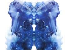rorschach blå vattenfärg Arkivfoto