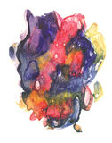 Rorschach. Blue, red and yellow watercolor. stock illustration