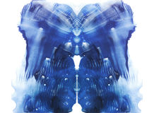 Rorschach. Blue watercolor Stock Photo