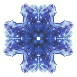 Rorschach. Blue watercolor cruciform symmetric blotch. Fine abstract painting. Isolated white image royalty free illustration