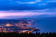 Rorschach, Bodensee, Switzerland. City Rorschach at Lake Constance in Switzerland at sunset royalty free stock photo