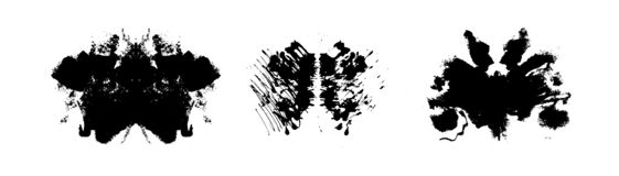 Rorschach inkblot test illustration, symmetrical abstract ink stains stock illustration