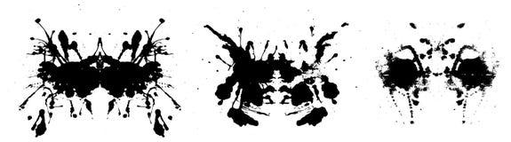 Rorschach inkblot test illustration, symmetrical abstract ink stains stock illustration