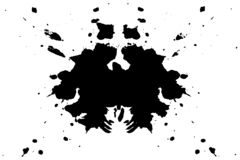 Rorschach inkblot test illustration, symmetrical abstract ink stains vector illustration